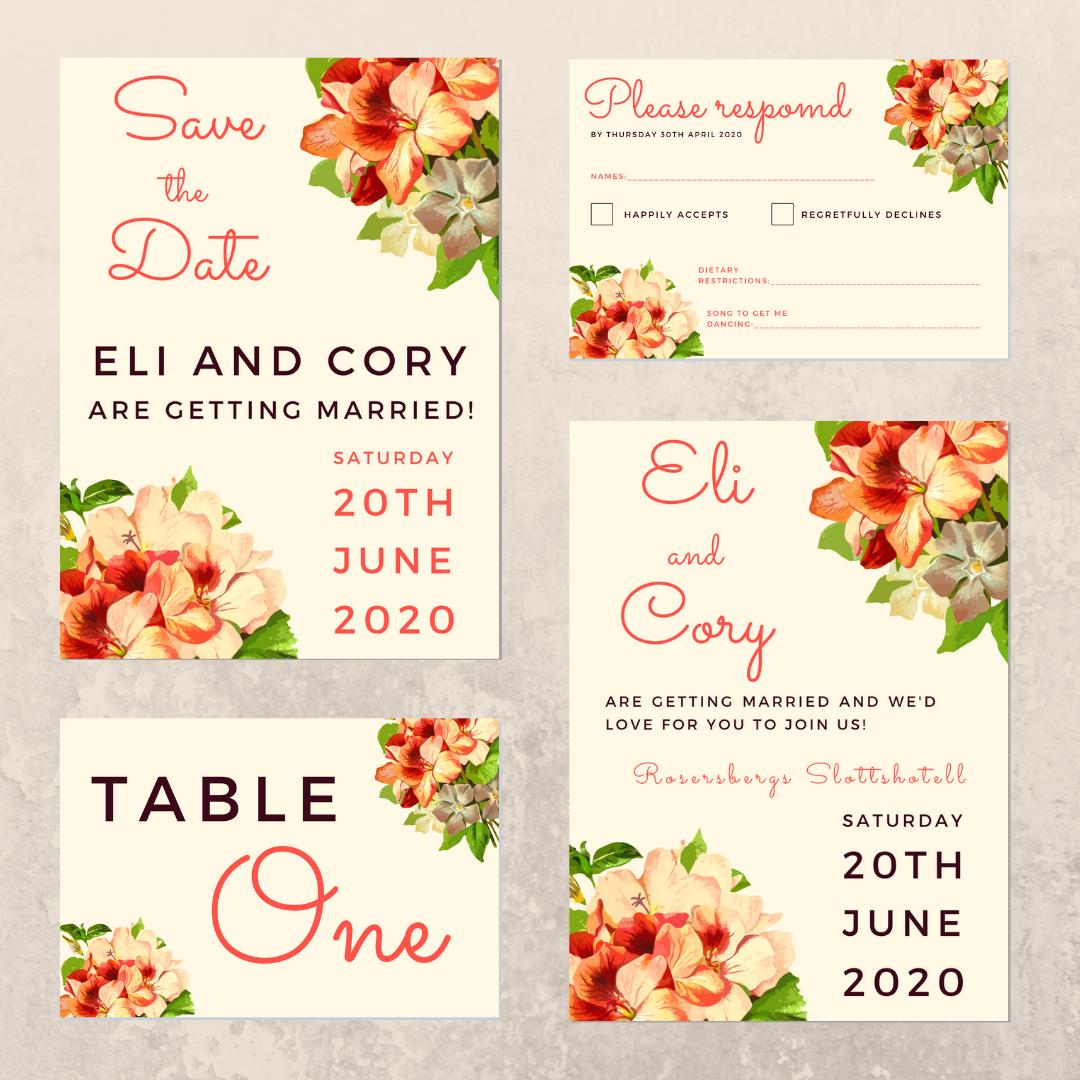 Tropical flower wedding invitation suite