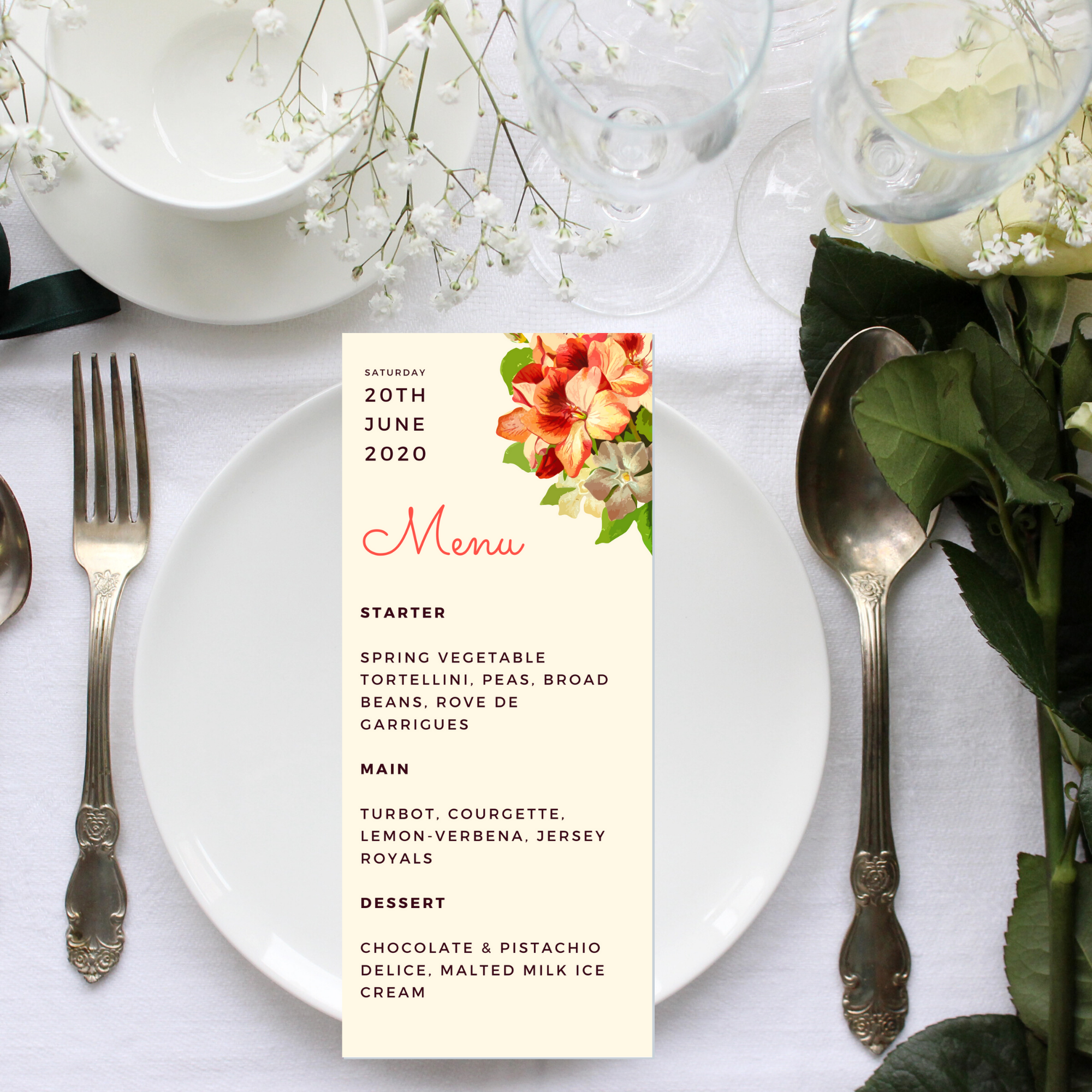 Matching menu for tropical wedding collection