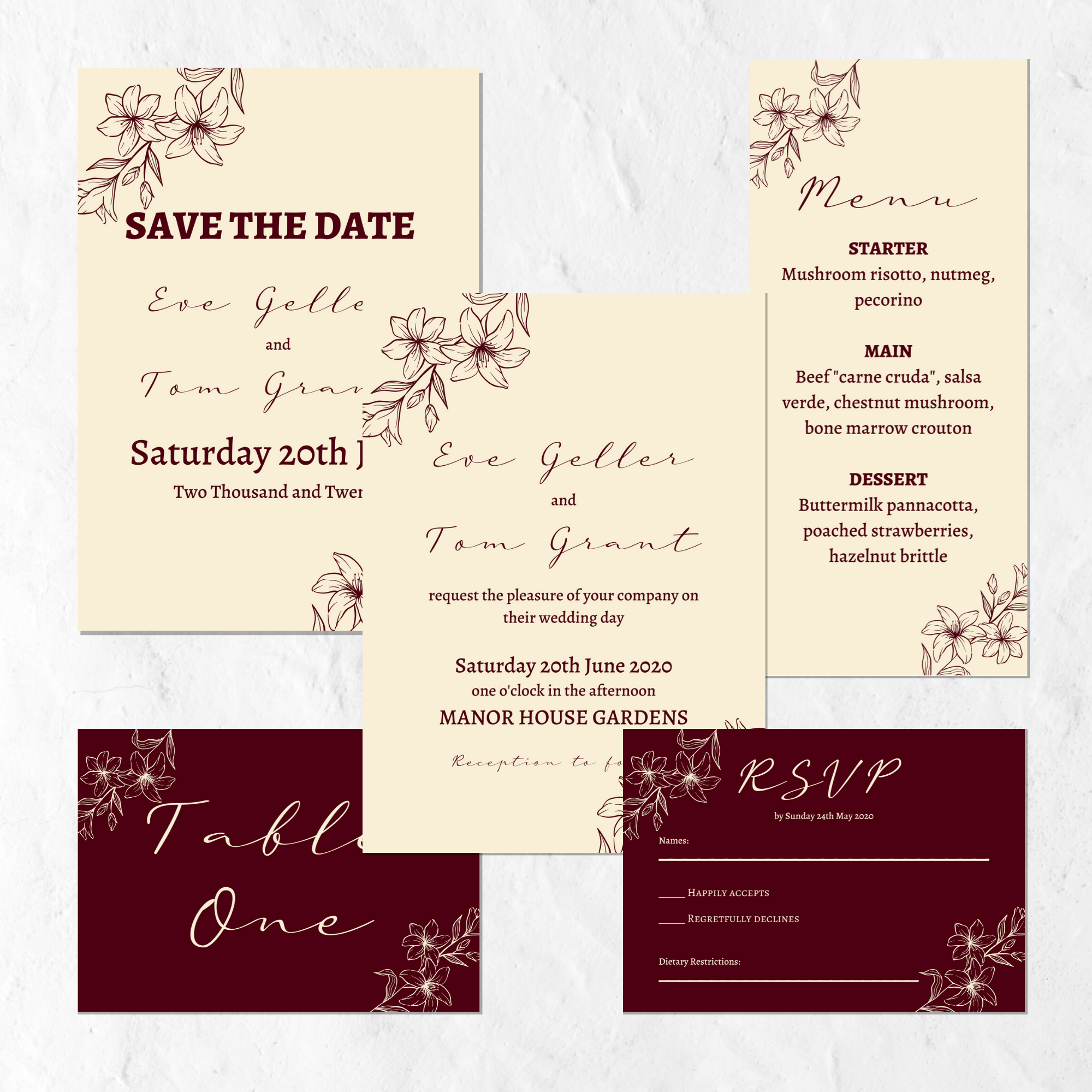 dusty pink & burgundy wedding invitation suite