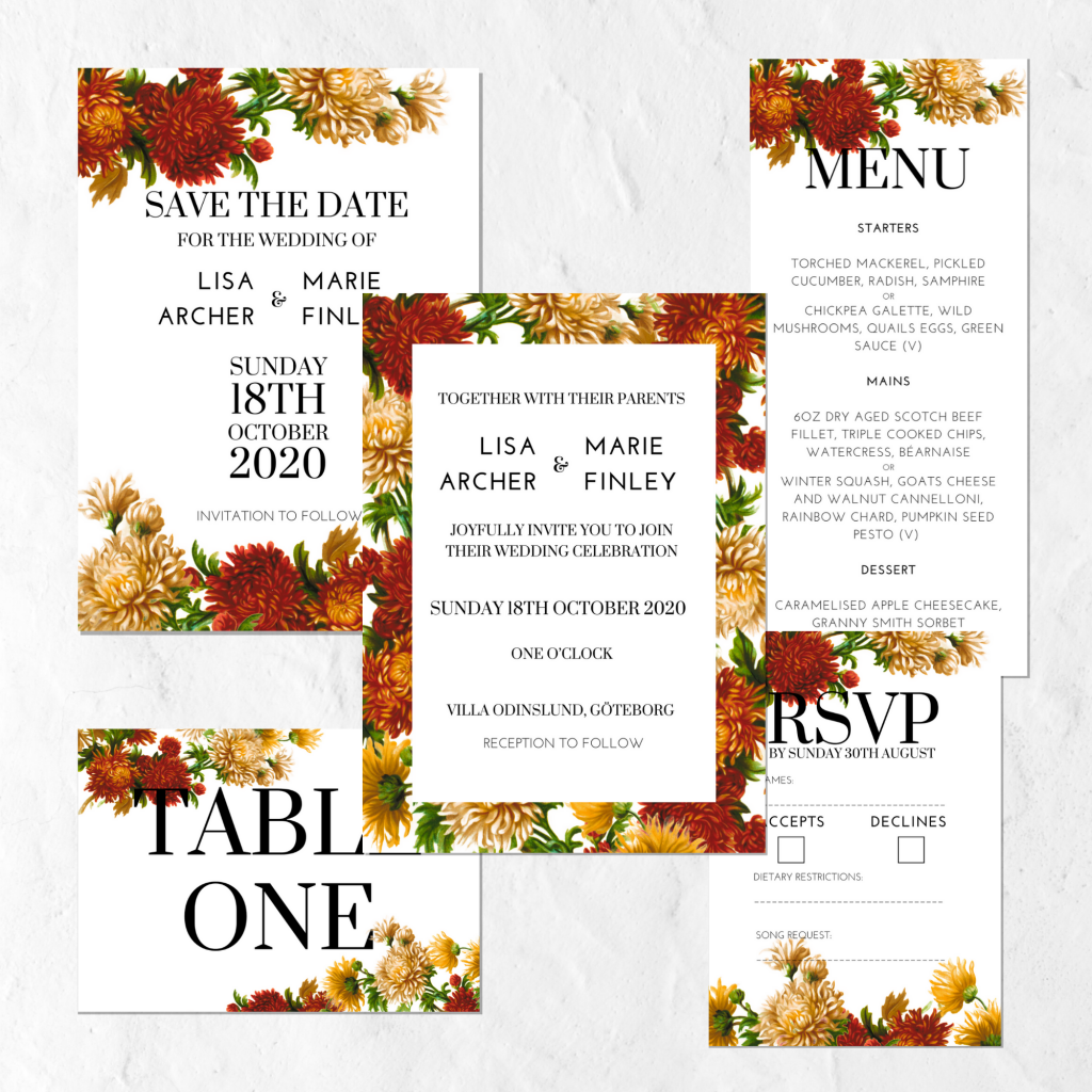 RED & YELLOW FLORAL WEDDING INVITATION SUITE