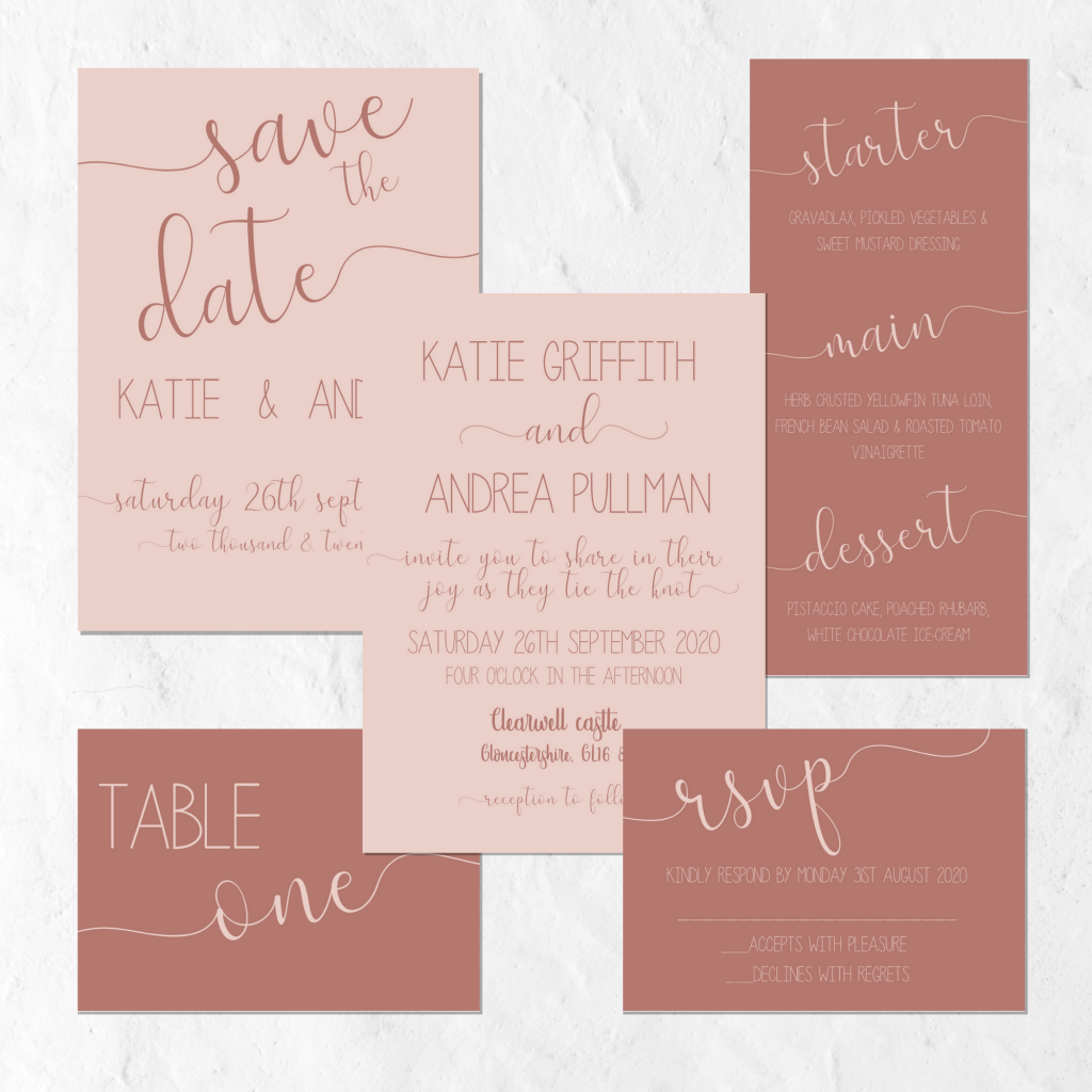 dusty pink & brown wedding invitation suite