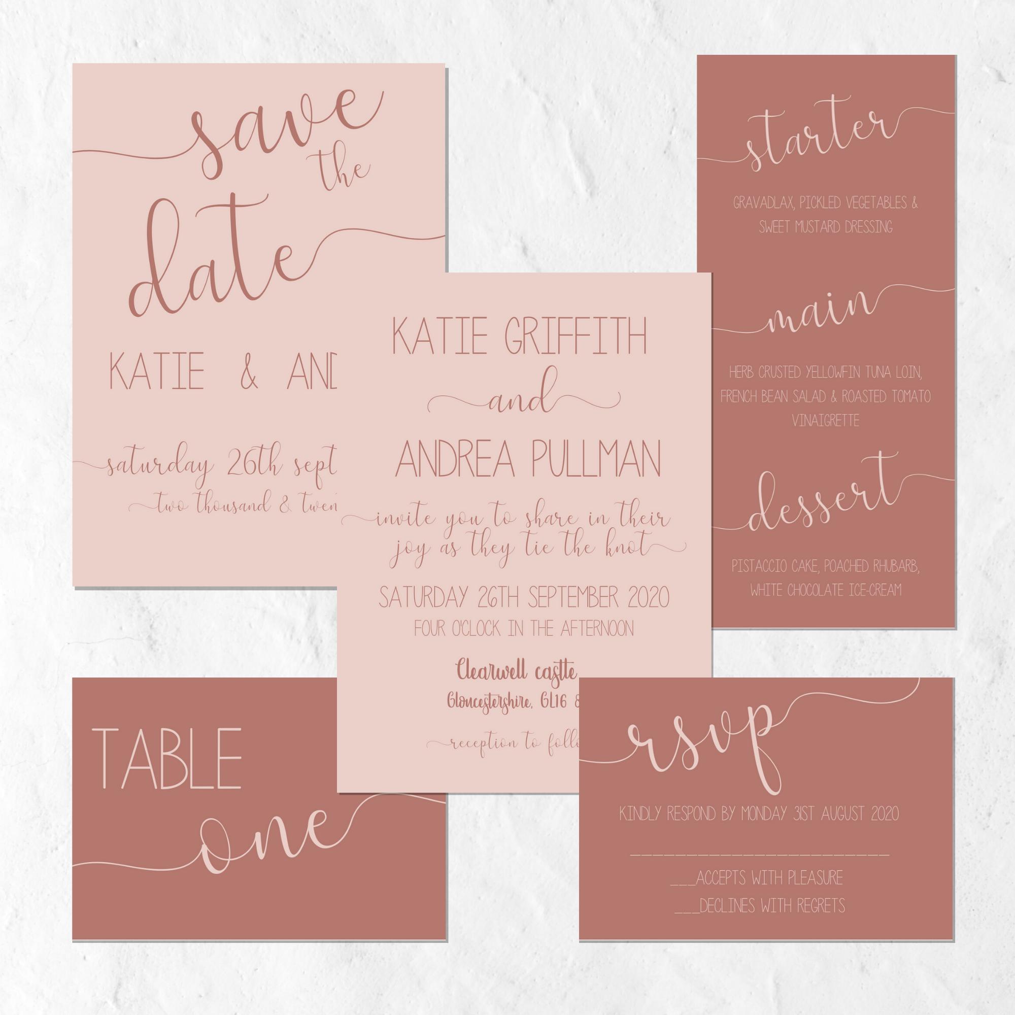 dusty pink & brown wedding invitation suite