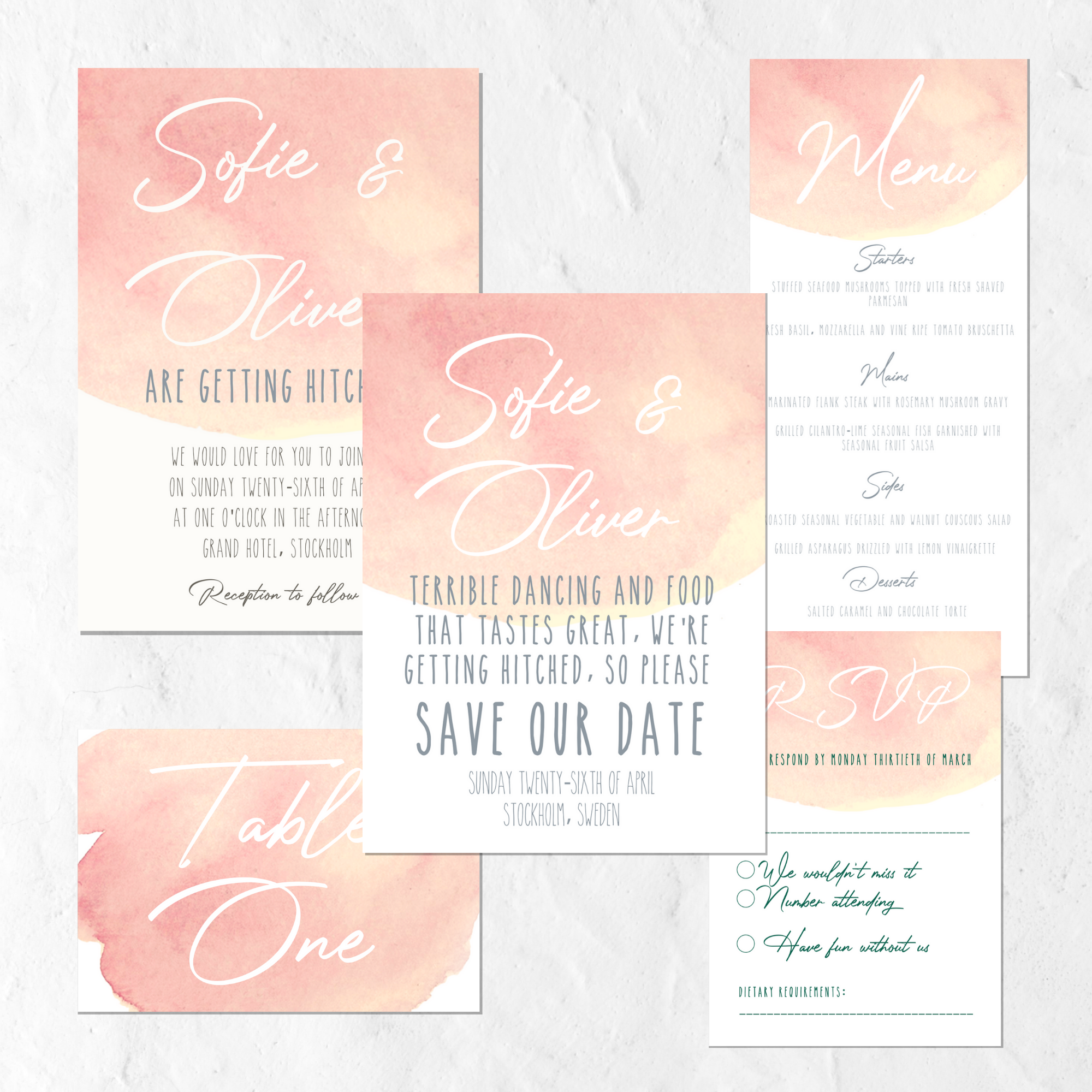 pINK WATERCOLOUR INVITATION SUITE