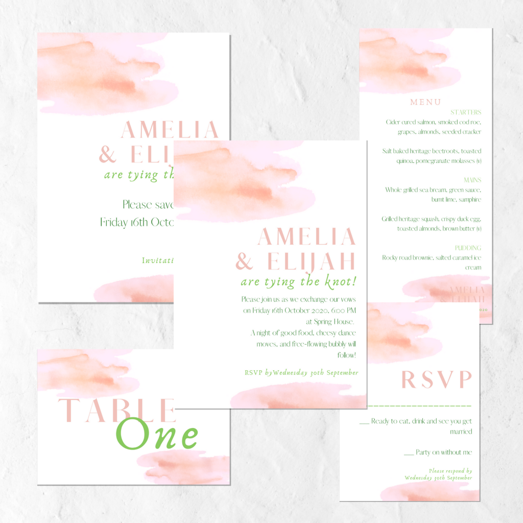 pink watercolour wedding invitation suite