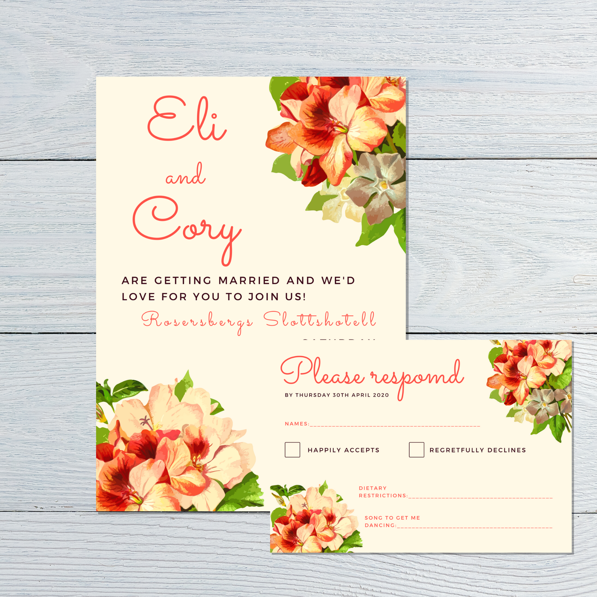 Wedding invitation and RSVP with flowers