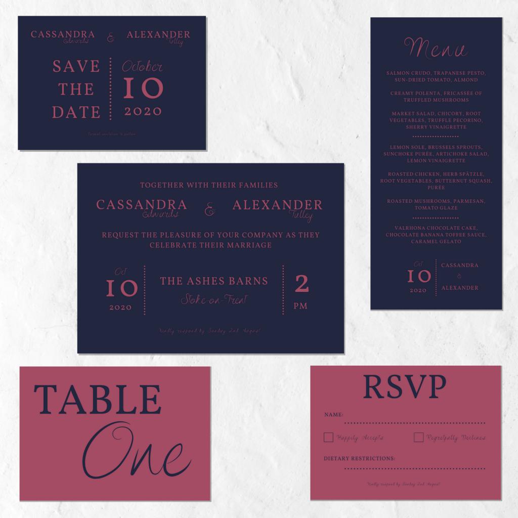 Minimalist wedding invitation set in dark pink and blue