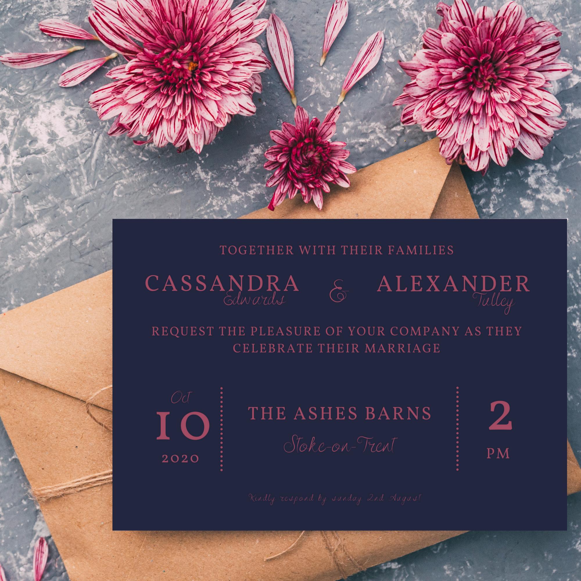 Wedding invitation in dark pink and blue