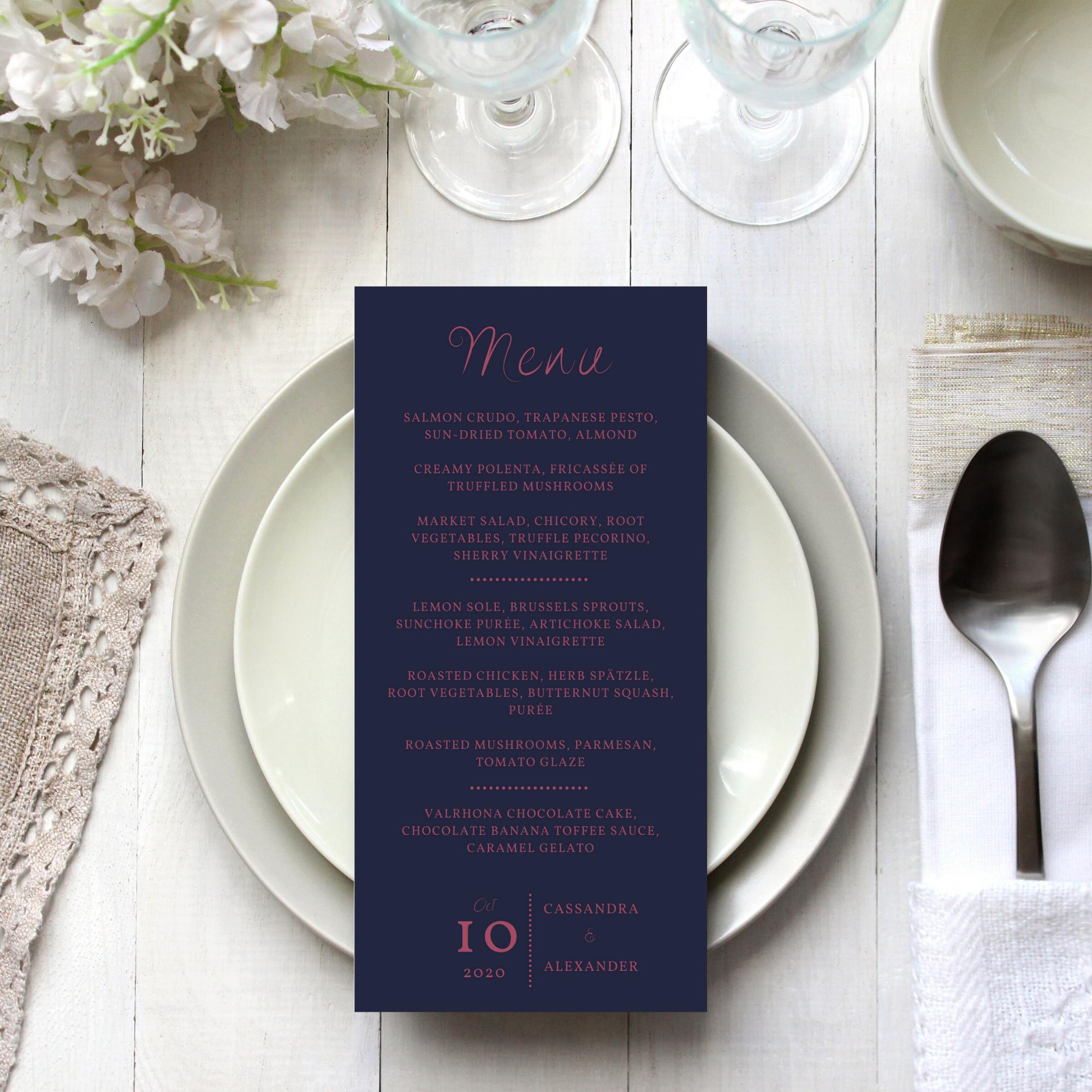matching menu for minimalist wedding invitation set
